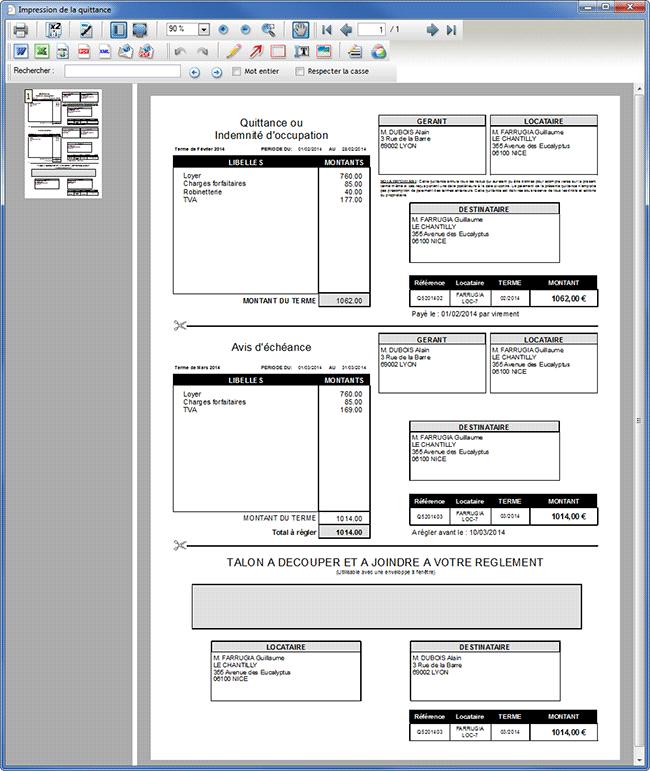 Editer et imprimer les avis d'échéances et les quittances de loyer